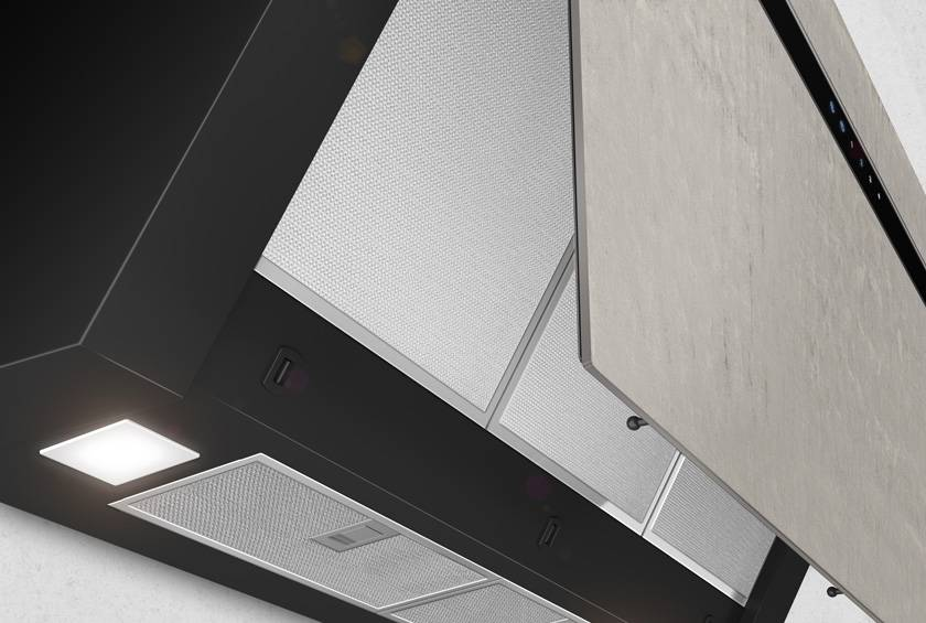 Airforce Gres V14 90cm Flat Wall Mounted Cooker Hood - Ivory Stone - Large 2