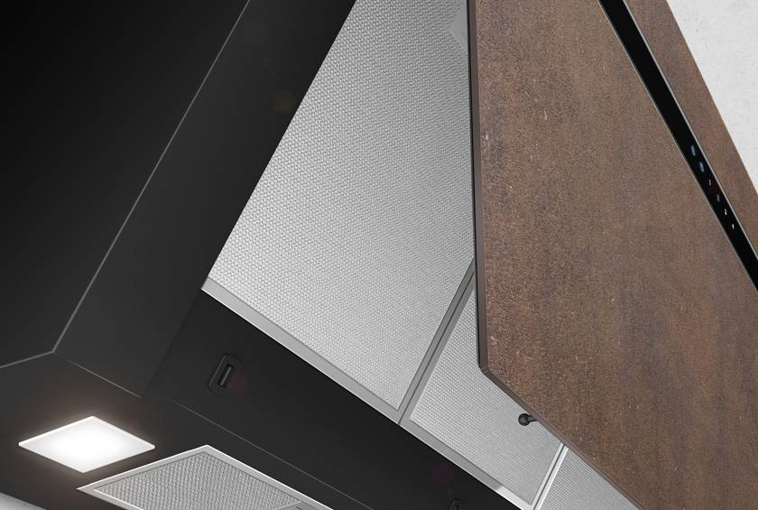 Airforce Gres V16 90cm Flat Wall Mounted Cooker Hood Brown Oxide Stone - Large 2