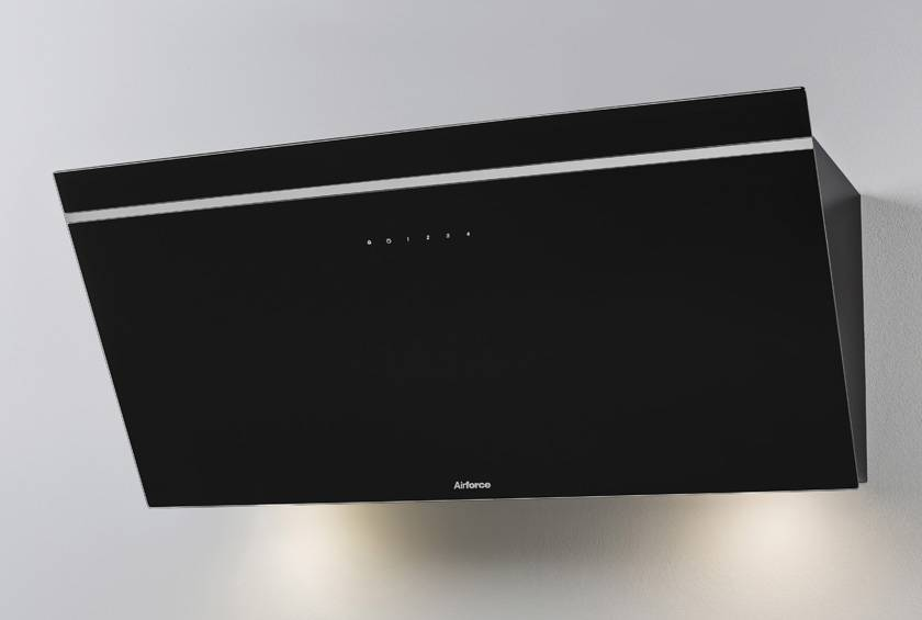 Airforce V2 90cm Flat Wall Mounted Cooker Hood - Black glass