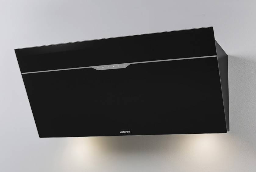 Airforce V6 90cm Flat Wall Mounted Cooker Hood - Black glass