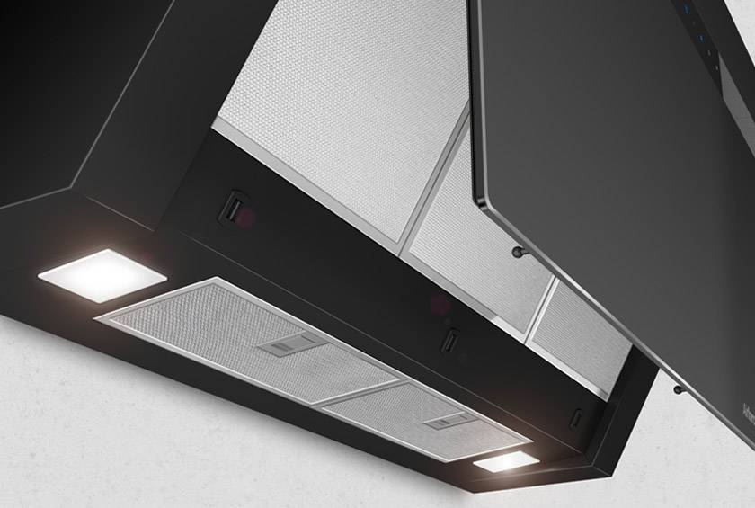 Airforce V4 60cm Flat Wall Mounted Cooker Hood - Black glass Lighting Image