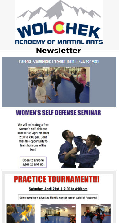 Wolchek Academy of Martial Arts Newsletter
