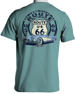 1960 Corvette Route 66 T-Shirt by Laid Back