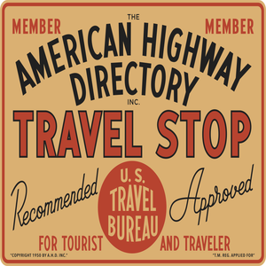 American Highway Directory Travel Stop Vintage Style Sign