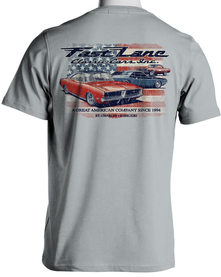 Fast Lane Classic Cars Stars and Stripes Mopar T-Shirt