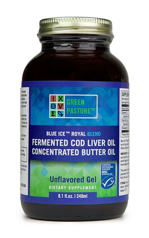 Blue Ice Fermented Cod Liver Oil/High Vitamin Butter Oil Blend- Unflavored Gel
