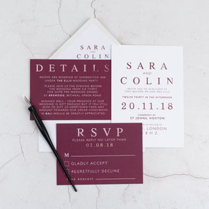 Colin + Sara | Reception Invite - The Little Craft Box