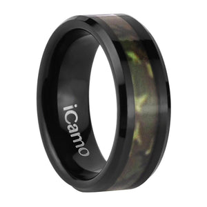iCamo Klamath Men's Tungsten Camo Wedding Ring - Black