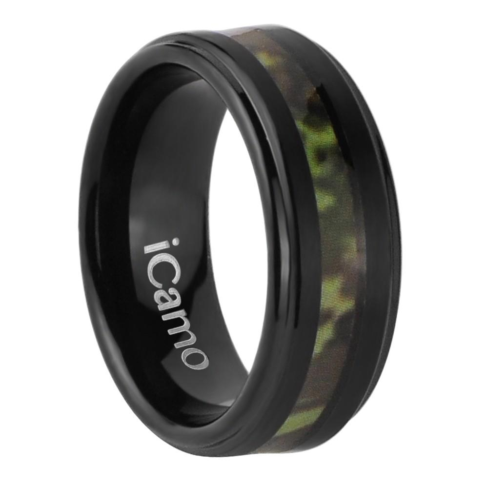 iCamo Cherokee Men's Tungsten Camo Wedding Ring - Black