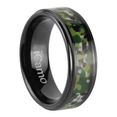 iCamo Chippewa Men's Tungsten Camo Wedding Ring - Black