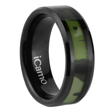 iCamo Bighorn Men's Tungsten Camo Wedding Ring - Black