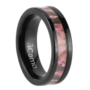 iCamo Kisatchie Women's Tungsten Camo Wedding Ring - Black