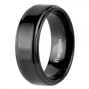 iTungsten Plutus Men's Tungsten Wedding Ring - Black