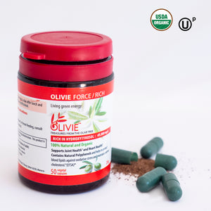OLIVIE FORCE/RICH, the full spectrum capsules from organic olive trees surviving Desert 8 times clinically tested.