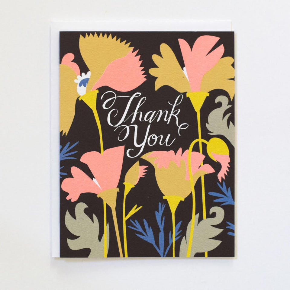 Wild California Poppies thank you card