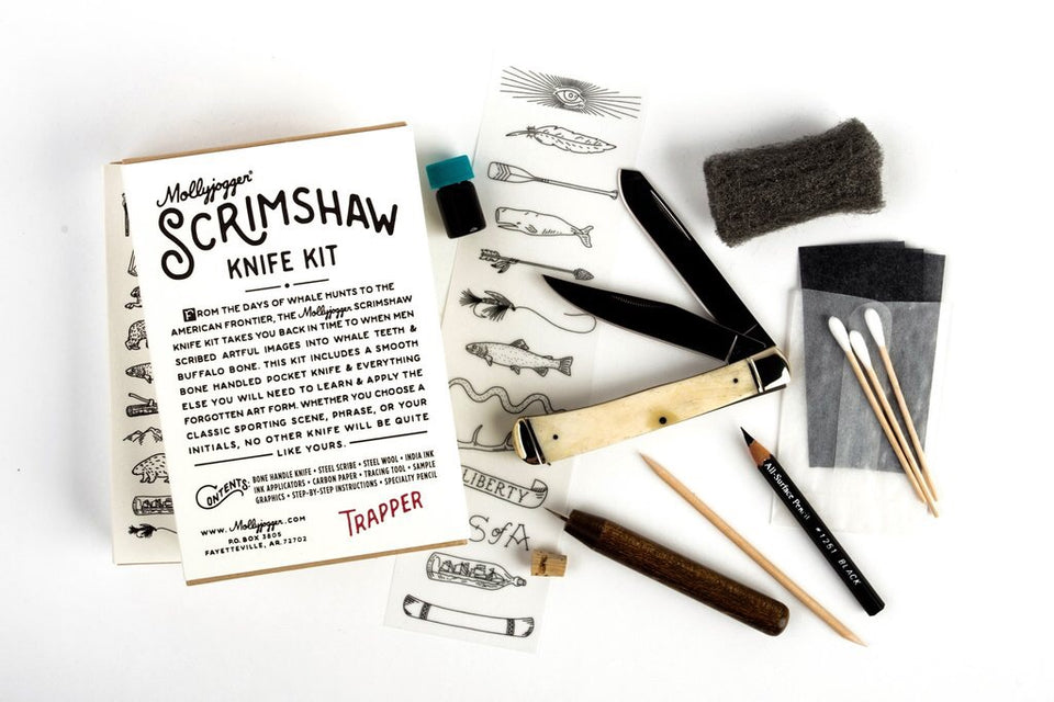 Scrimshaw Kit + Trapper Knife