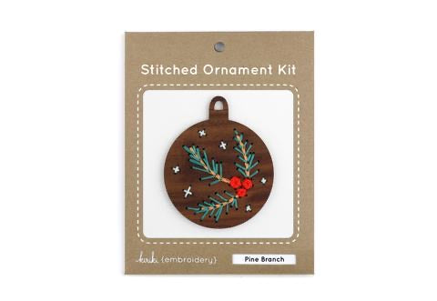 Pine Branch - DIY Stitched Ornament Kit