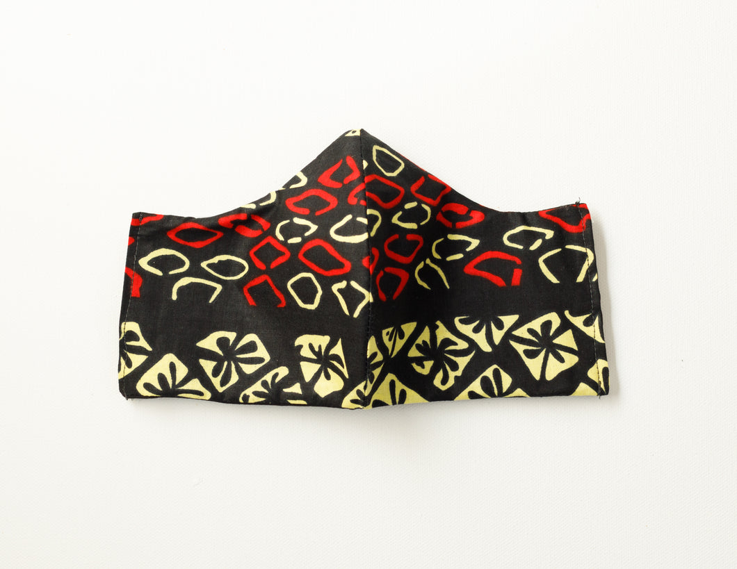 Black Red and Yellow Ankara Mask