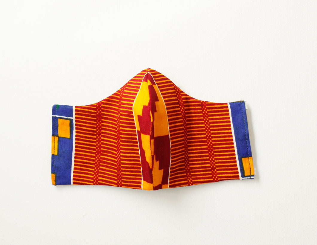 Blue Orange Red Kente Mask