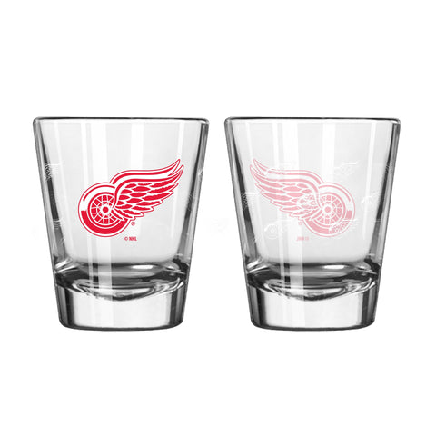 Detroit Red Wings Shot Glass - 2 Pack Satin Etch
