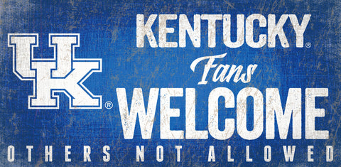 Kentucky Wildcats Wood Sign Fans Welcome 12x6