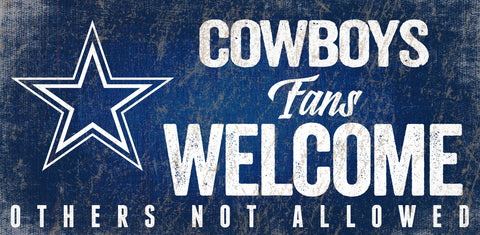 Dallas Cowboys Wood Sign Fans Welcome 12x6