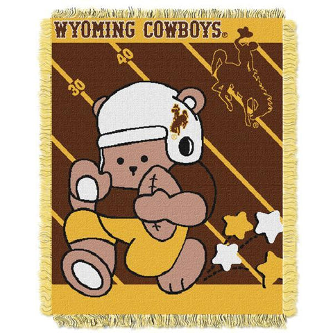 "Wyoming Cowboys NCAA Half Court Baby 36""x 46"" Triple Woven Jacquard Throw"