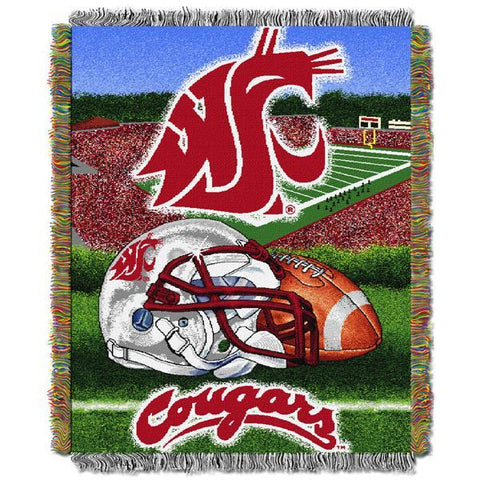"Washington State Cougars NCAA Home Field Advantage 48""x 60"" Woven Tapestry Throw"