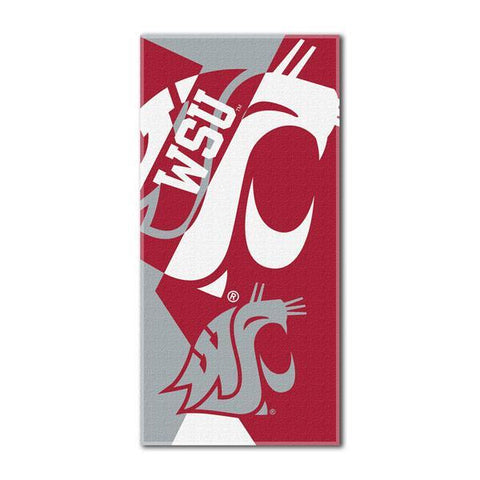 Washington State Cougars NCAA Puzzle 34 x 72 Over-sized Beach Towel