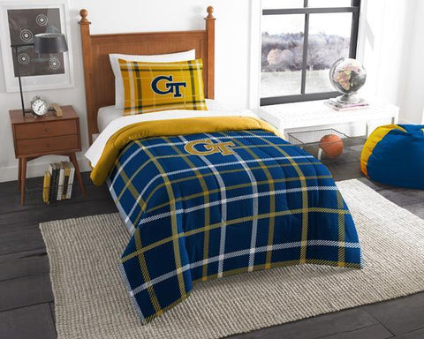Georgia Tech Yellow Jackets NCAA Twin Applique Comforter (64x 86) & 1 Sham (20x 26) Set