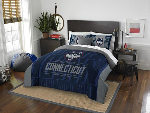 "Uconn Huskies NCAA Bedding, ""Modern Take Full/Queen Printed Comforter & 2 Shams Set"