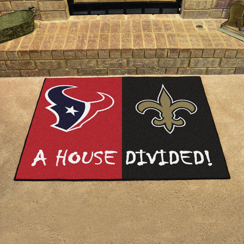 "NFL- Texans - Saints House Divided Rug 33.75""x42.5"""