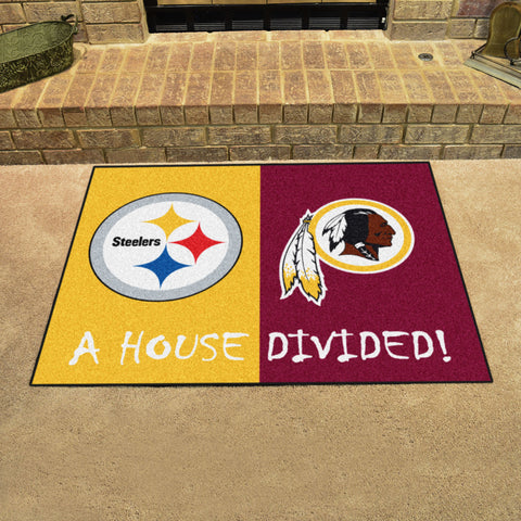 "NFL House Divided - Steelers/Redskins House Divided Rug 33.75""x42.5"""