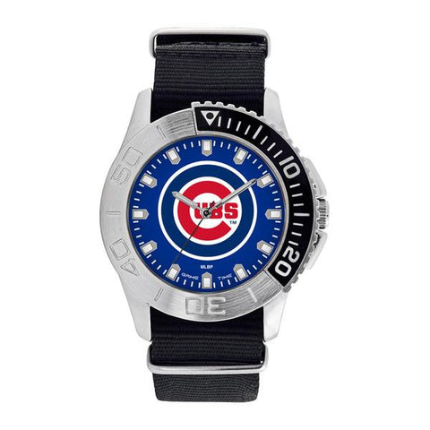 Chicago Cubs Mens Quartz Analog Silver Round Case Black Strap 42Mm Starter