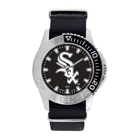 Chicago White Sox Mens Quartz Analog Silver Round Case Black Strap 42Mm Starter