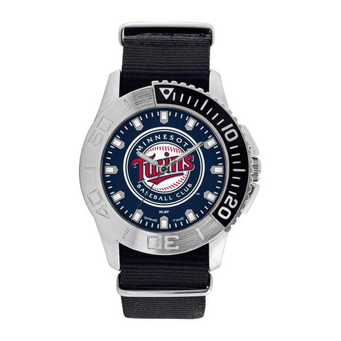 Minnesota Twins Mens Quartz Analog Silver Round Case Black Strap 42Mm Starter
