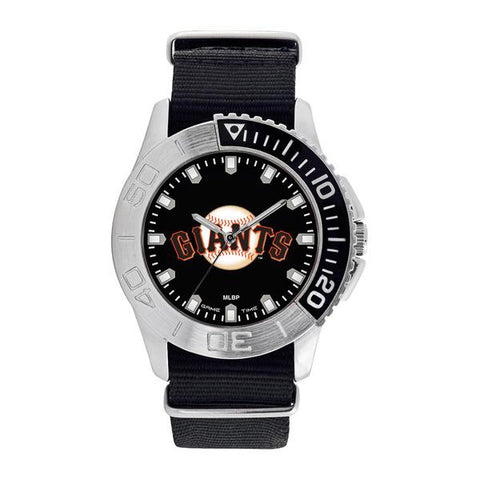 San Francisco Giants Mens Quartz Analog Silver Round Case Black Strap 42Mm Starter
