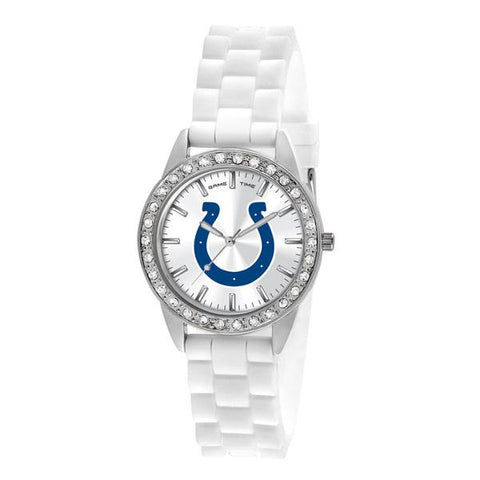 Indianapolis Colts Ladies Quartz Analog Silver Round Case White Strap 38Mm Frost