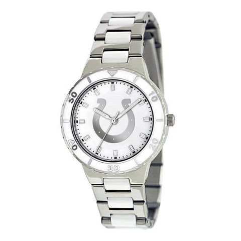 Indianapolis Colts Ladies Quartz Analog Silver Round Case Silver Bracelet 35.9Mm Pearl
