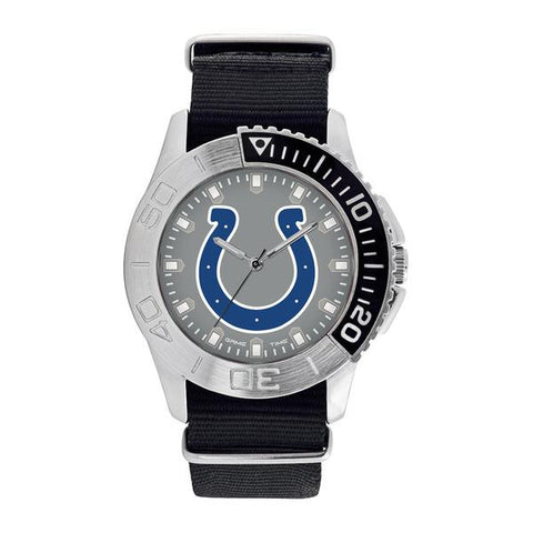 Indianapolis Colts Mens Quartz Analog Silver Round Case Black Strap 42Mm Starter