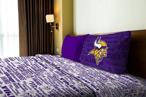 "Minnesota Vikings NFL Bedding ""Anthem"" Twin Sheet Set (1 Flat sheet – 66""x 96"", 1 Fitted sheet – 39""x 75"", 1 Pillowcase – 20""x 30"")"