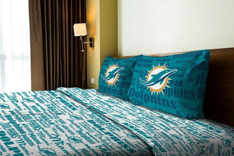"Miami Dolphins NFL Bedding Anthem Full Sheet Set (1 Flat sheet – 81""x 96"", 1 Fitted sheet – 54""x 75"", 2 Pillowcases – 20""x 30"")"