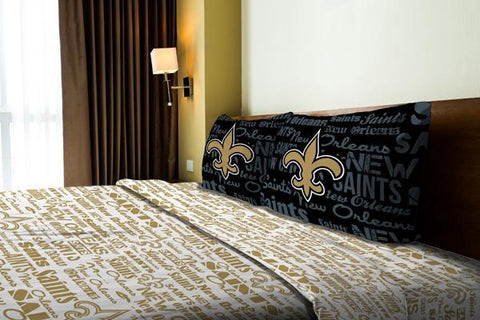 "New Orleans Saints NFL Bedding Anthem Full Sheet Set (1 Flat sheet – 81""x 96"", 1 Fitted sheet – 54""x 75"", 2 Pillowcases – 20""x 30"")"