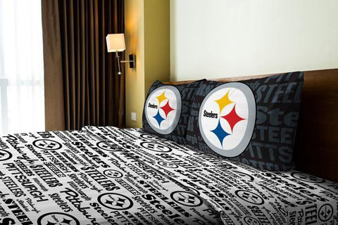 "Pittsburgh Steelers NFL Bedding Anthem Full Sheet Set (1 Flat sheet – 81""x 96"", 1 Fitted sheet – 54""x 75"", 2 Pillowcases – 20""x 30"")"
