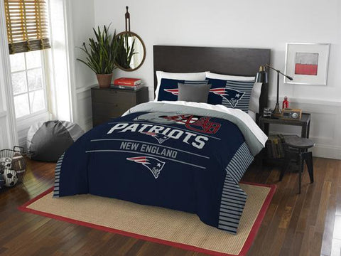 New England Patriots NFL Draft Full/Queen Comforter & Shams Set