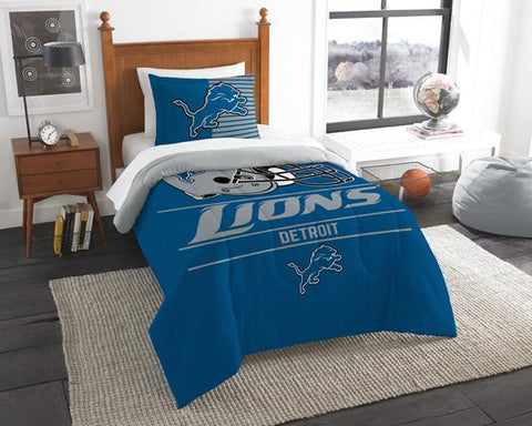 Detroit Lions NFL Draft Twin Comforter & Sham Set