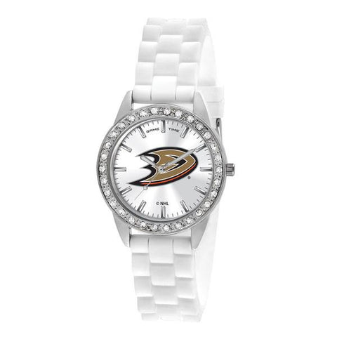 Anaheim Ducks Ladies Quartz Analog Silver Round Case White Strap 38Mm Frost