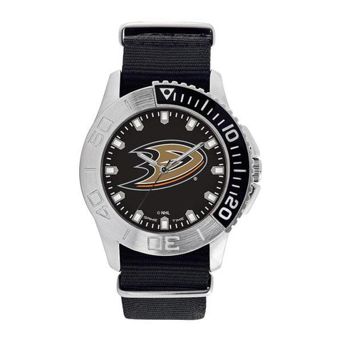 Anaheim Ducks Mens Quartz Analog Silver Round Case Black Strap 42Mm Starter