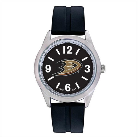 Anaheim Ducks Mens Quartz Analog Silver Round Case Black Strap 46.5Mm Varsity