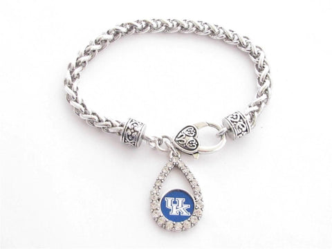 Bracelet - Kentucky Wildcats NCAA Teardrop Clear Crystal Silver Bracelet